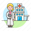 building, care, center, clinic, doctor, female, health, hospital, medical, physician icon