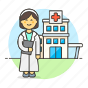 center, building, doctor, physician, hospital, health, medical, care, clinic, female icon