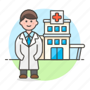 building, care, center, clinic, doctor, health, hospital, male, medical, physician icon
