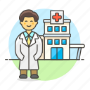 center, building, doctor, male, physician, hospital, health, medical, care, clinic icon