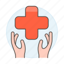 benefits, cross, hand, health, insurance, medical, policy, red, services icon