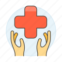 1, benefits, cross, hand, health, insurance, medical, policy, red, services icon