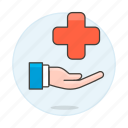 benefits, cross, hand, health, insurance, medical, policy, provide, red, services icon