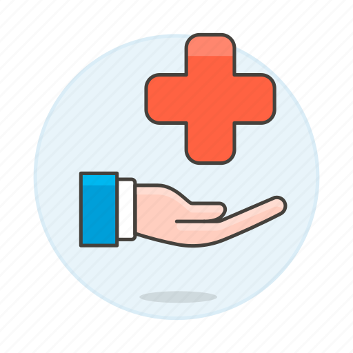 1, benefits, cross, hand, health, insurance, medical, policy, provide, red, services icon
