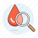 analysis, blood, drop, exam, health, magnifier, test icon