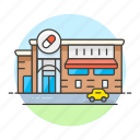 building, chemist, community, drug, drugstore, health, hospital, pharmacy, s, store icon