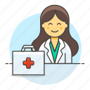 doctor, practitioner, kit, first, aid, physician, female, medical, personnel, health icon