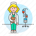 care, female, health, iv, medical, nurse, personnel, pole, provider, rn, stethoscope icon