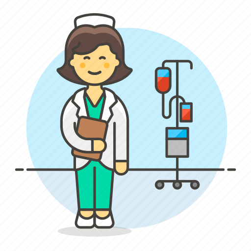 2, care, female, health, iv, medical, nurse, personnel, pole, provider, rn, stethoscope icon