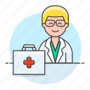 aid, doctor, first, health, kit, male, medical, personnel, physician, practitioner icon