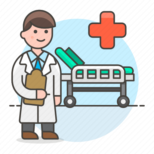 bed, check, doctor, health, hospital, male, medical, personnel, recovery, room, up icon