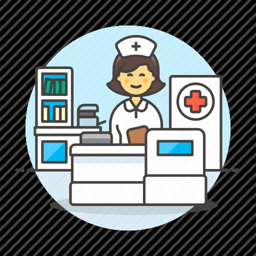 1, care, cross, health, medical, nurse, nursing, patient, personnel, provider, receptionist, red icon
