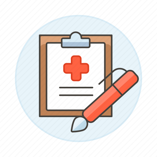 care, case, clipboard, cross, health, hospital, information, patient, pen, record, red, report icon