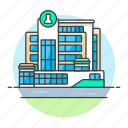 building, chemistry, health, hospital, laboratory, medical, research, science, scientific icon