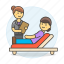 couch, divan, exam, health, patient, psychiatry, psychological, psycologist, session, sofa, therapy icon