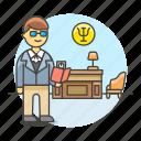 analyst, behavior, health, licensed, man, mental, professional, psychiatry, psychologist, specialist icon