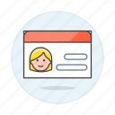 access, benefits, card, female, health, id, insurance, medical, services, treatment icon