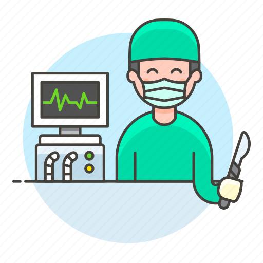 ecg, eeg, egk, ekg, health, male, monitor, patient, pulse, signal, surgeon, surgery, vital, wave icon