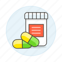 3, bottle, capsule, drug, health, medicine, pharmacology, pill, tablet icon