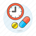 aspirin, capsule, drug, health, medicine, pharmacology, pill, schedule, tablet, time icon