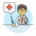 consultling, doctor, health, hospital, male, medical, personnel, stethoscope, syringe, vaccine icon