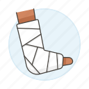 affection, ankle, bandaged, bone, cast, fracture, health, injuries, plaster, trauma, wound icon