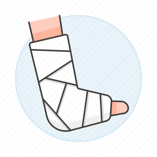1, affection, ankle, bandaged, bone, cast, fracture, health, injuries, plaster, trauma, wound icon
