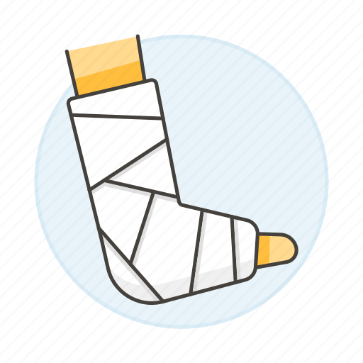 2, affection, ankle, bandaged, bone, cast, fracture, health, injuries, plaster, trauma, wound icon