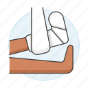 affection, bandaged, bone, cast, fracture, health, injuries, leg, trauma, wound icon