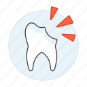 broken, caries, cavities, chipped, cracked, decay, dental, dentistry, health, tooth icon