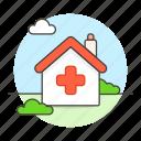 center, clinic, cross, facility, health, healthcare, hospital, house, red icon