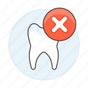 bad, damaged, dental, dentistry, health, piece, tooth, unhealthy icon