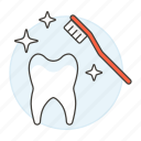 brush, clean, dental, dentistry, health, hygiene, oral, tooth, toothbrush, white icon
