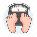 2, check, diet, dietitics, health, measure, scale, weigh, weight icon