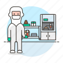 femalehealth, glassware, health, lab, laboratorist, laboratory, protective, scientist, test, tube icon