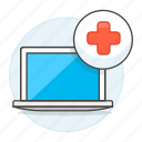 appointment, clinic, health, hospital, information, laptop, medical, medicine, software icon