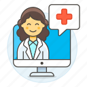 1, app, clinic, doctor, female, health, information, medical, online, ppointment, softwarea icon