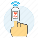 1, examination, finger, health, heart, monitoring, oximeter, oxygen, pulse, rate, saturation icon