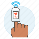2, examination, finger, health, heart, monitoring, oximeter, oxygen, pulse, rate, saturation icon
