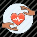 ecg, ekg, electrocardiogram, hand, health, healthcare, heart, pulse, signal icon