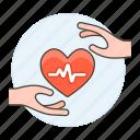 2, ecg, ekg, electrocardiogram, hand, health, healthcare, heart, pulse, signal icon