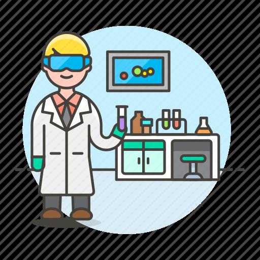 glassware, health, lab, laboratorist, laboratory, male, scientist, test, tube icon