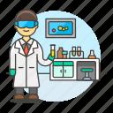 2, glassware, health, lab, laboratorist, laboratory, male, scientist, test, tube icon