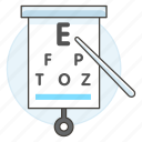 acuity, chart, diagnosis, examination, eye, health, medical, ophthalmology, optometry, test, visual icon