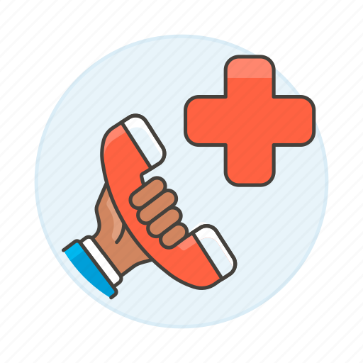ambulance, call, emergencies, hand, health, help, hold, paramedic, phone, services icon