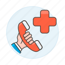 1, ambulance, call, emergencies, hand, health, help, hold, paramedic, phone, services icon