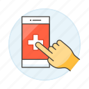 software, platform, app, hand, online, hospital, health, medical, clinic, appointment icon