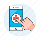 software, hospital, hand, online, app, appointment, health, medical, platform, clinic icon