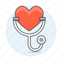 examination, health, heart, medical, monitoring, status, stethoscope icon