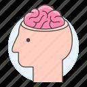 brain, cerebral, cerebrum, cortex, head, health, human, nervous, open, profile, system icon